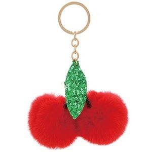Accessories - Fuzzy cherry fruit key chain 5.32 inches long